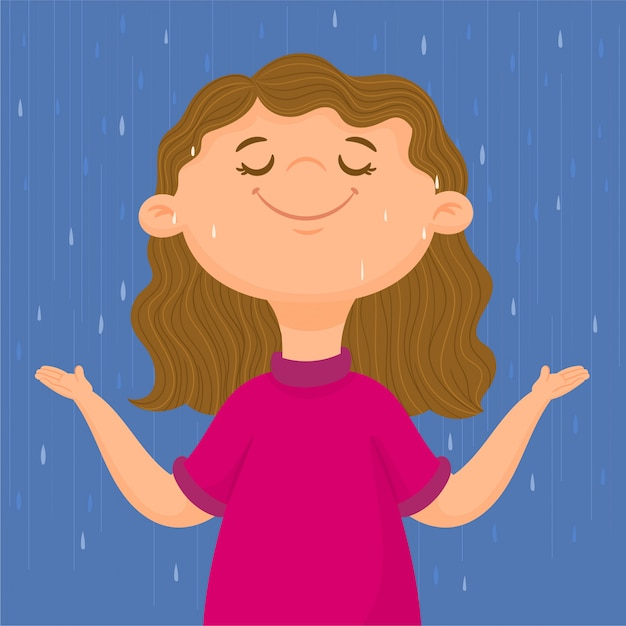 Ragazza felice sotto la pioggia autunnale Vettore Premium