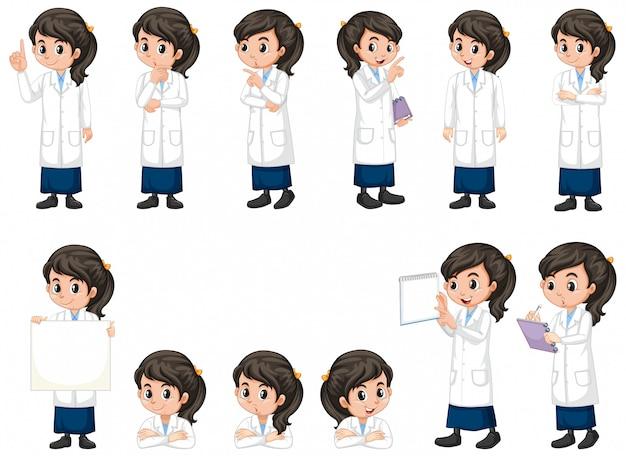 Ragazza in abito di scienza che fa le pose differenti su fondo bianco Vettore gratuito