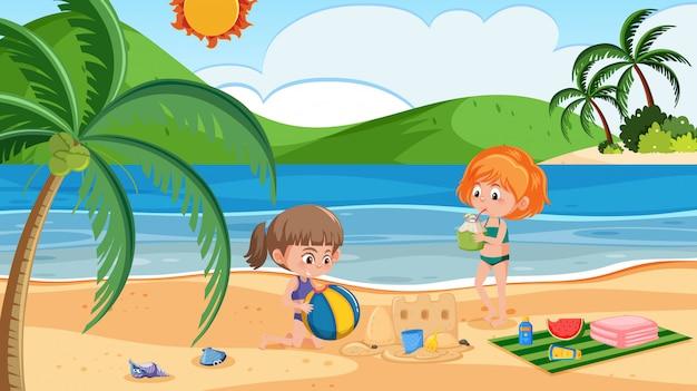 Ragazza in spiaggia Vettore Premium