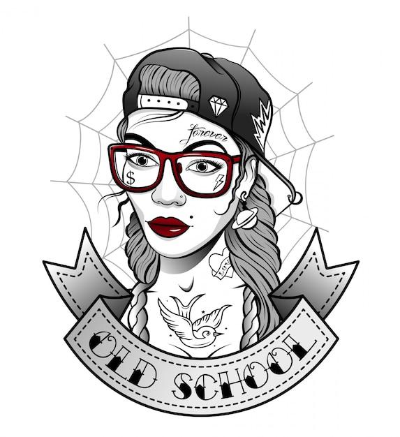 Ragazza in un cappello con tatuaggi in stile antico Vettore Premium