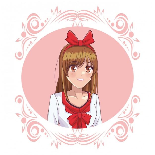 Ragazza manga anime Vettore Premium