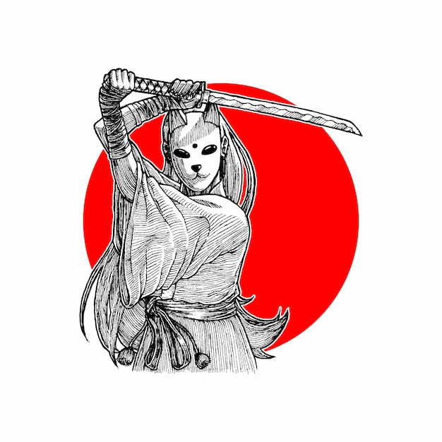 Ragazza mascherata del samurai che tiene il suo wakizashi, vettore disegnato a mano dell'illustrazione Vettore Premium
