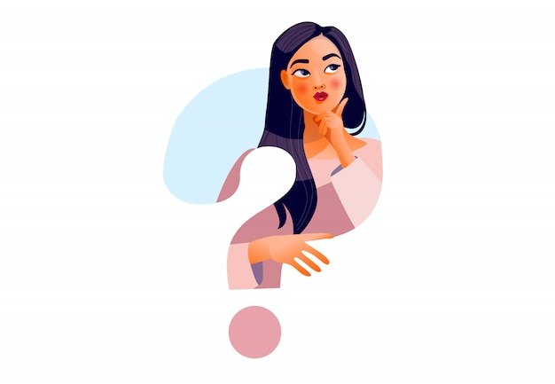 Ragazza pensante bel viso, dubbi, problemi, pensieri, emozioni. donna curiosa Vettore Premium