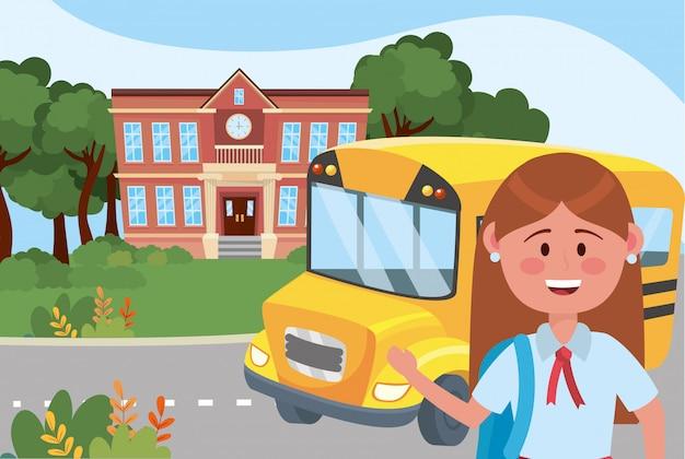 Ragazza ragazzino e scuola di autobus Vettore gratuito