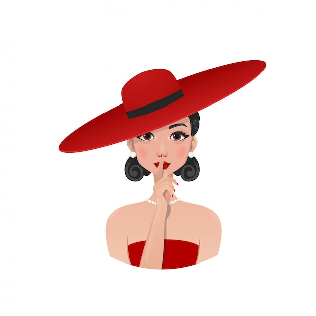 Ragazza retrò in un cappello rosso e vestito Vettore Premium