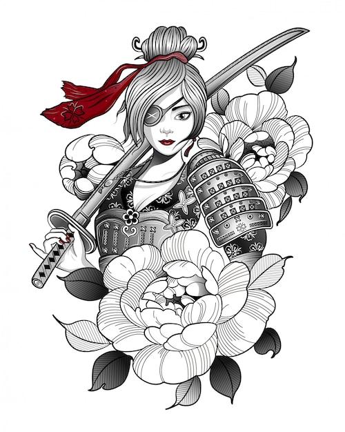 Ragazza samurai in attrezzatura da combattimento con una spada Vettore Premium