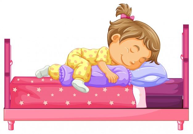 Ragazza sdraiata sul letto Vettore gratuito