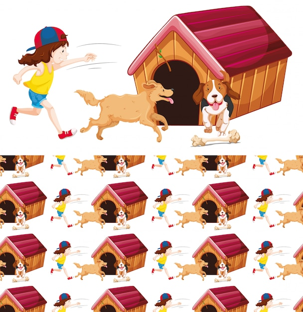 Ragazza senza soluzione di continuità e due cani Vettore gratuito