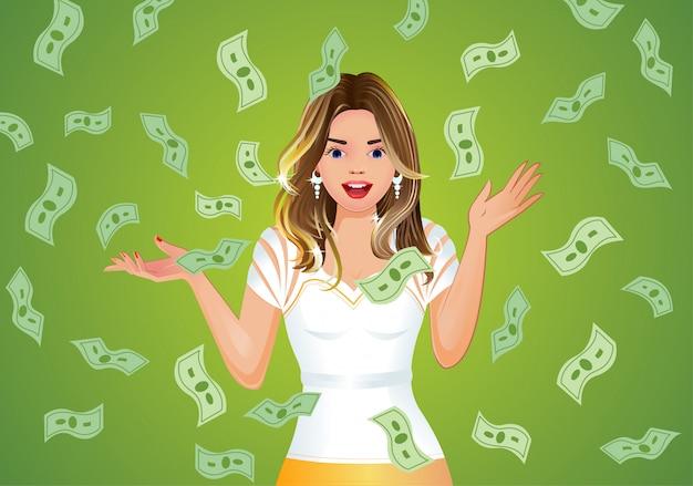 Ragazza sorpresa con soldi che cadono sfondo, jackpot. Vettore Premium
