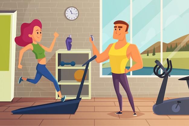 Ragazza sulla pista di atletica. illustrazione di fitness di allenamento personale femminile Vettore Premium