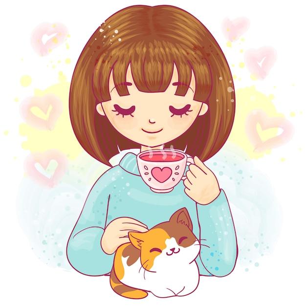 Ragazza sveglia del fumetto con il gattino e la tazza di tè Vettore Premium