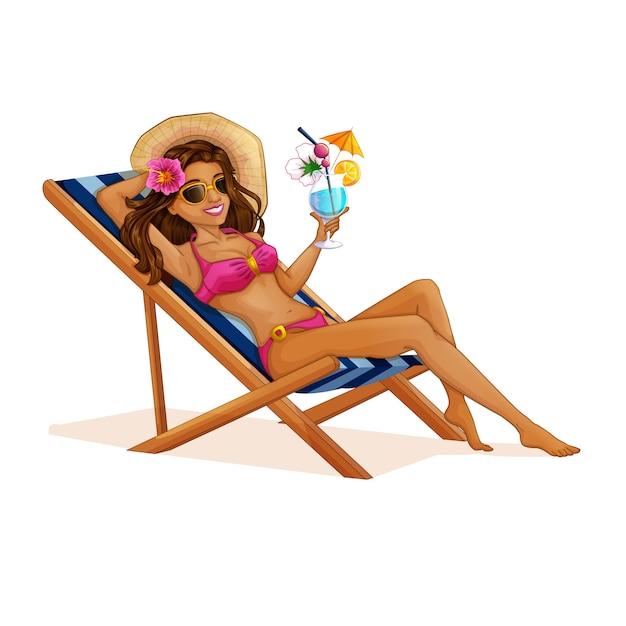 Ragazza turistica in un costume da bagno che si siede in una sedia a sdraio Vettore Premium