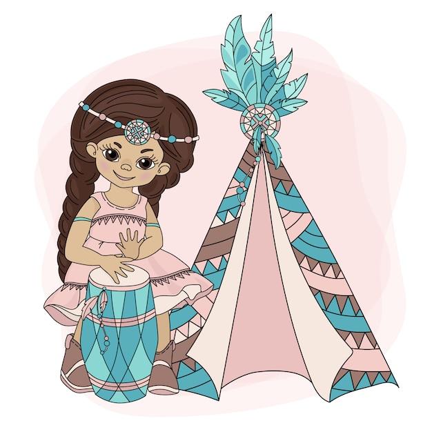 Ragazza wigwam pocahontas indian princess Vettore Premium