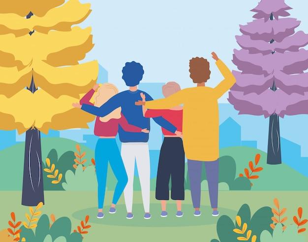 Ragazze e ragazzi si accoppiano con alberi di pini Vettore gratuito