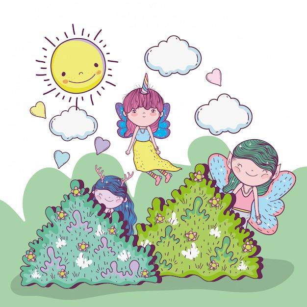 Ragazze fantastiche creature tra i cespugli con nuvole e sole Vettore Premium