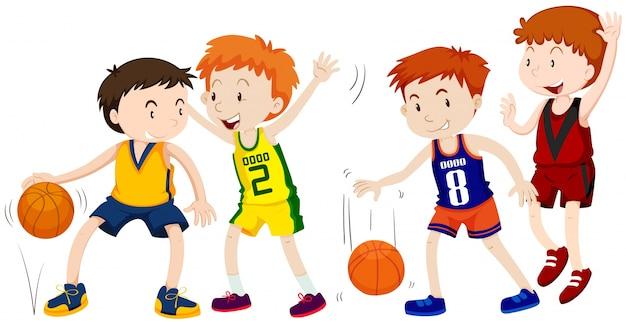 Ragazzi che giocano a basket su sfondo bianco Vettore gratuito