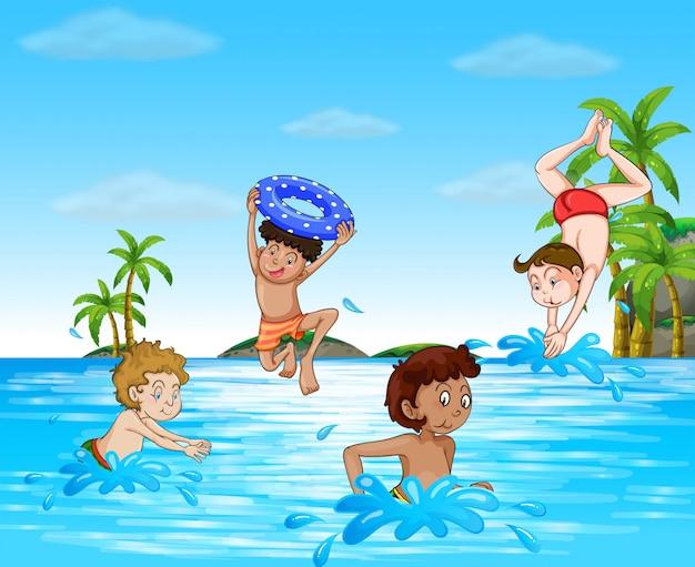Ragazzi che nuotano e si tuffano nel mare Vettore gratuito