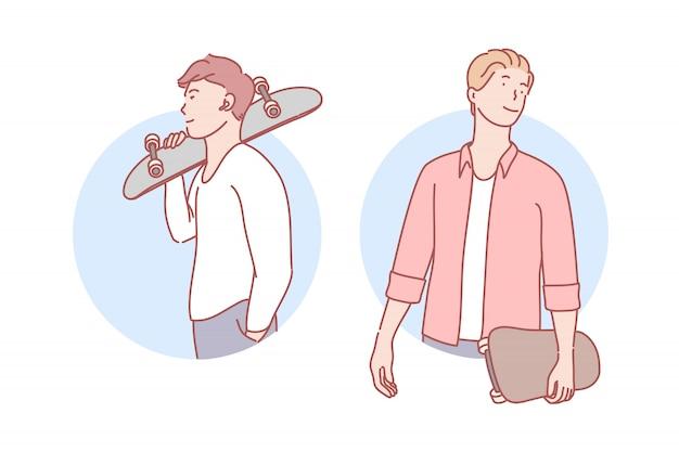 Ragazzi con skateboard impostare illustrazione Vettore Premium