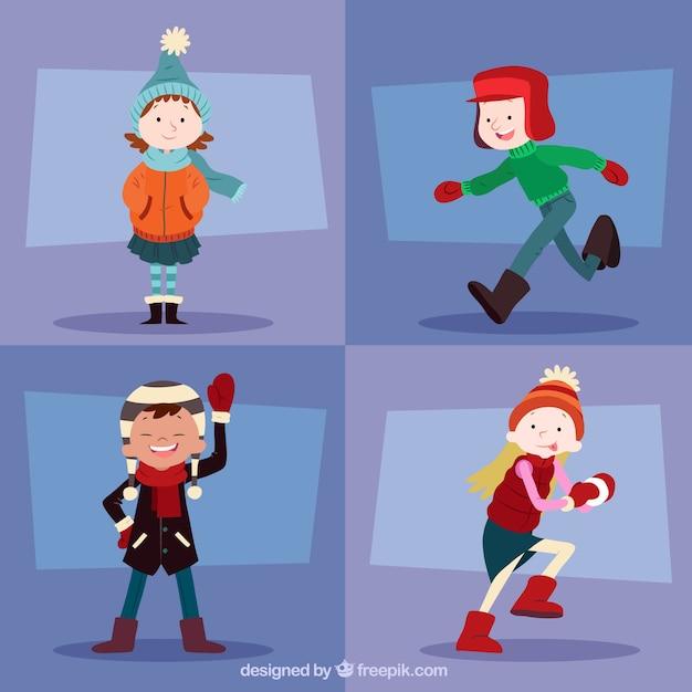 Ragazzi d inverno che indossano vestiti caldi Vettore gratuito 26df2d883bc