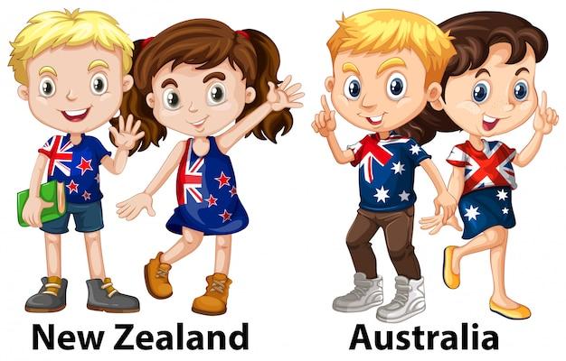 Ragazzi dalla nuova zelanda e dall'australia Vettore gratuito