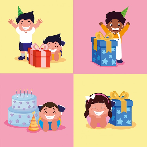 Ragazzi e ragazza con torta e regali di buon compleanno Vettore Premium