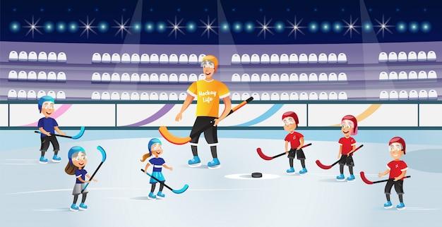 Ragazzi e ragazze che giocano hockey sul vettore della pista di pattinaggio sul ghiaccio. Vettore Premium