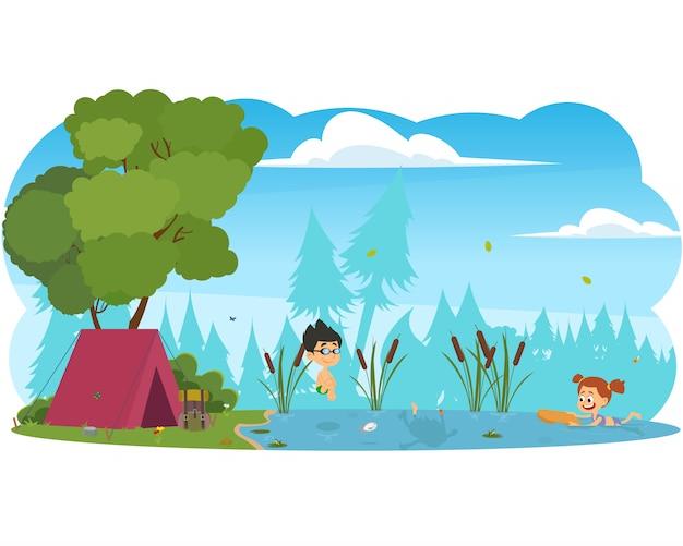 Ragazzi e ragazze che nuotano nel fiume. Vettore Premium
