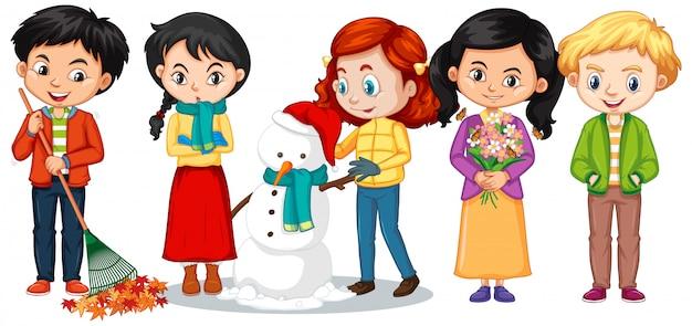 Ragazzi e ragazze in abiti invernali Vettore gratuito