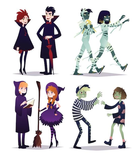 Ragazzi e ragazze in stile di diversi personaggi di halloween. giovani coppie in costumi di vampiri, mummie, maghi, zombi. illustrazione in stile cartone animato su sfondo bianco. impostato. festa. Vettore Premium
