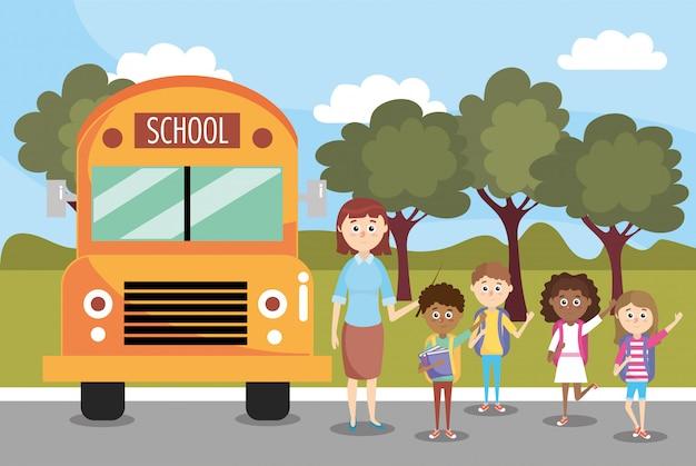 Ragazzi e ragazze studenti e scuolabus Vettore Premium