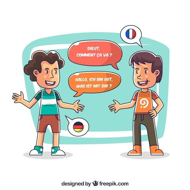 Ragazzi felici disegnati a mano che parlano lingue diverse Vettore gratuito