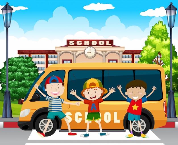 Ragazzi in attesa del furgoncino della scuola Vettore gratuito