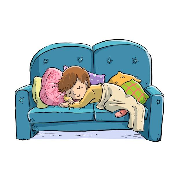 Ragazzino che dorme sul divano Vettore Premium
