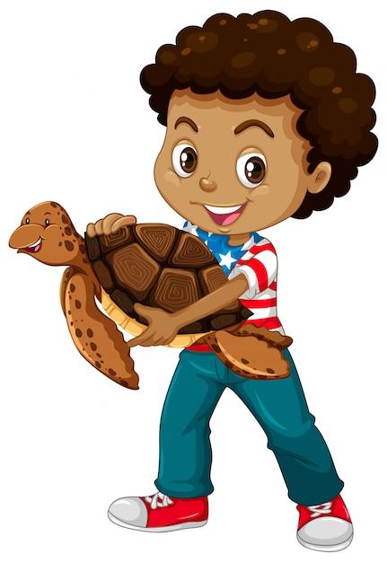 Ragazzino e tartaruga marina Vettore gratuito