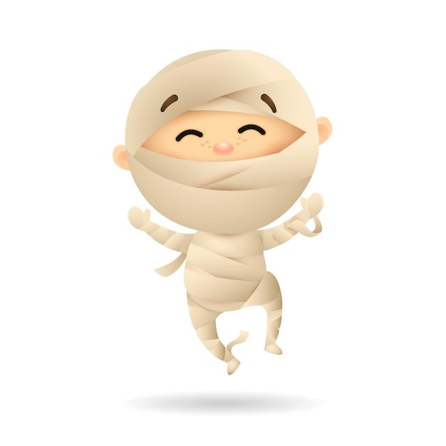 Ragazzino felice in costume della mummia Vettore gratuito