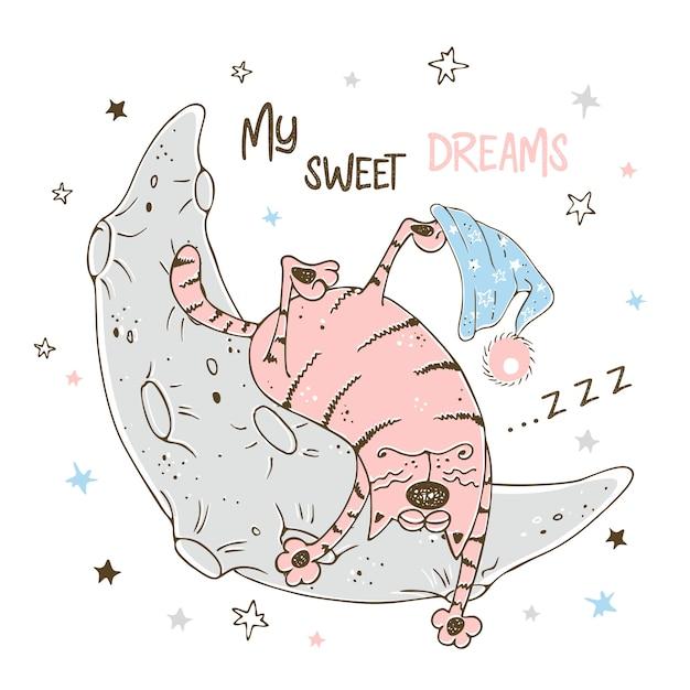 Ragazzino sveglio che dorme dolcemente sulla luna. Vettore Premium