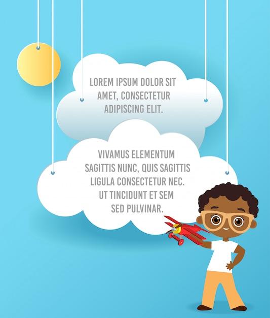 Ragazzo afroamericano con occhiali e aereo giocattolo. ragazzo che gioca con l'aeroplano. Vettore Premium