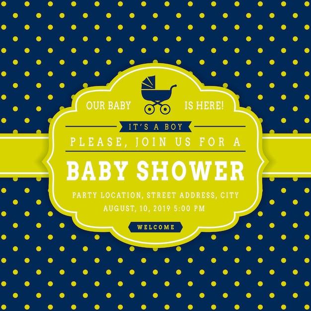 Ragazzo baby shower modello di carta di invito vettoriale Vettore Premium