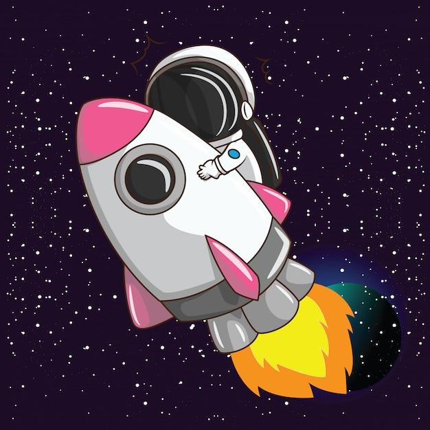 Ragazzo carino costume astronus. concetto di lavoro da sogno. Vettore Premium