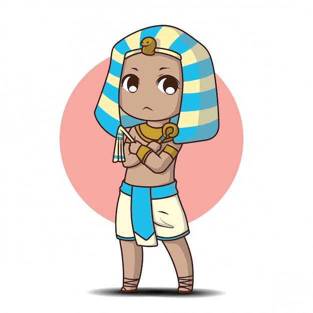 Ragazzo carino in costume egiziano., personaggio dei cartoni animati. Vettore Premium
