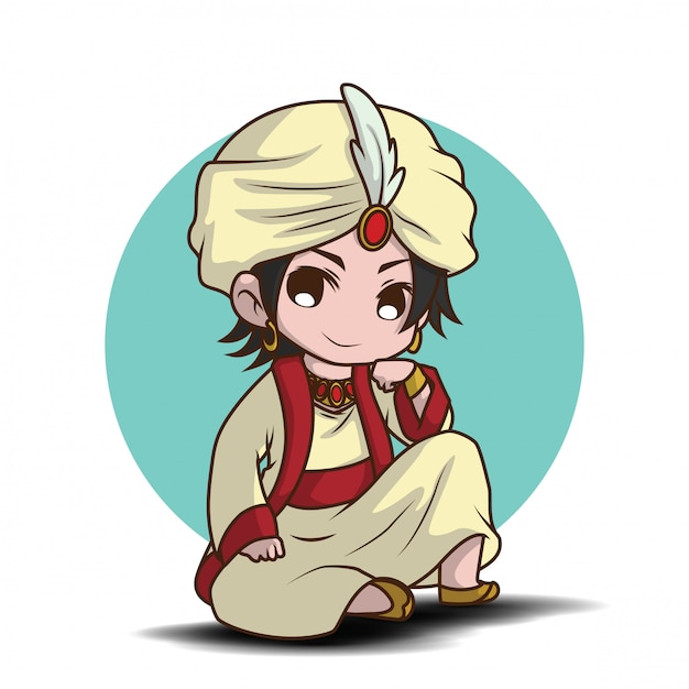 Ragazzo carino su arabian prince costume cartoon Vettore Premium