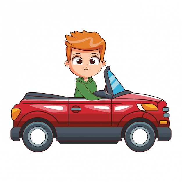Ragazzo cartoon guida auto Vettore Premium