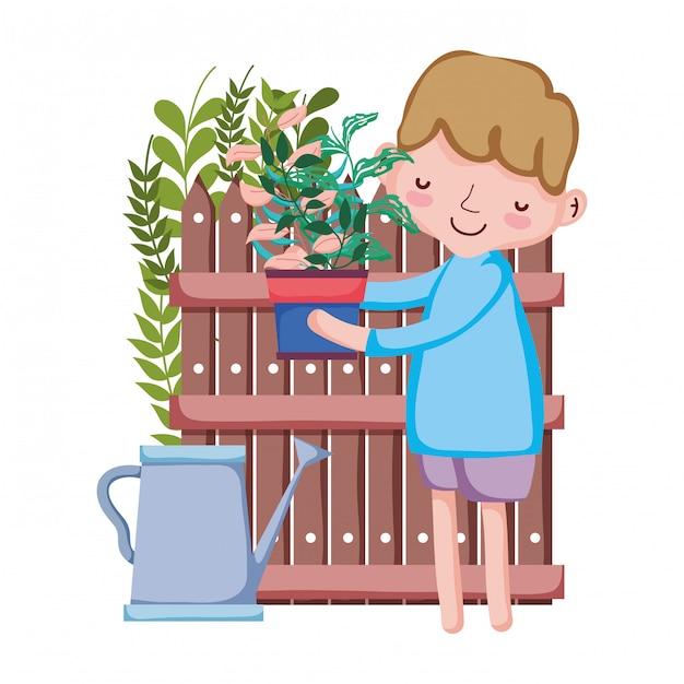 Ragazzo che alza la pianta da appartamento con irrigatore e recinzione Vettore Premium