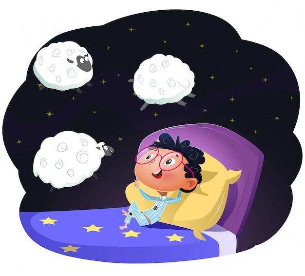 Ragazzo che conta le pecore per addormentarsi, llustration di vettore Vettore Premium