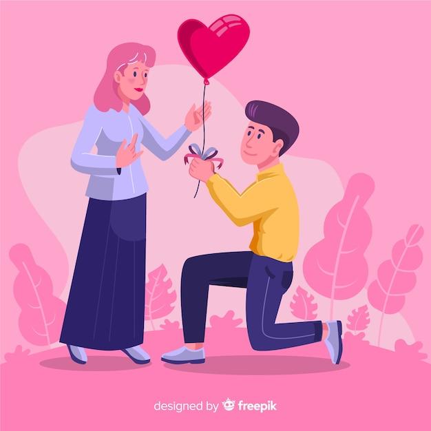 Ragazzo che dà alla sua ragazza un palloncino a cuore Vettore gratuito