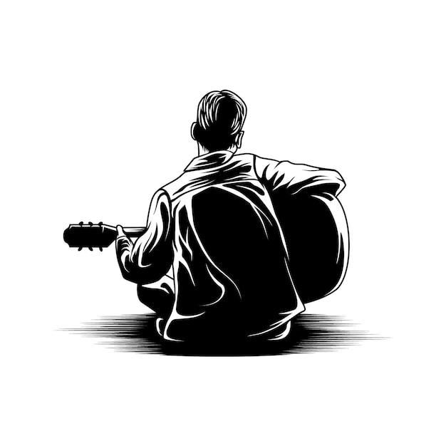 Ragazzo che gioca l'illustrazione della parte posteriore di vista della chitarra Vettore Premium