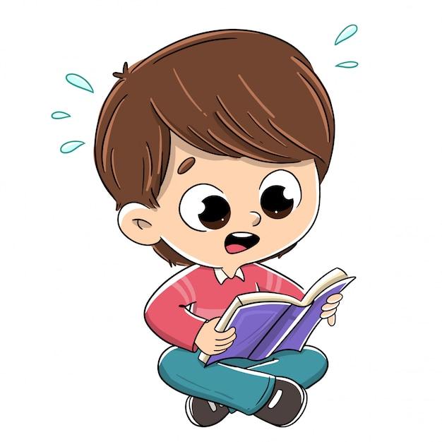 Ragazzo che legge un libro sorpreso Vettore Premium