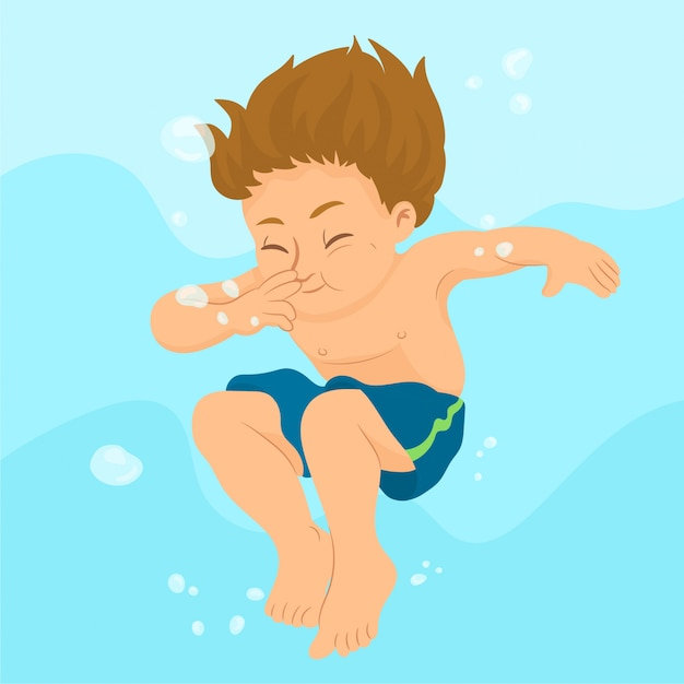 Ragazzo che nuota sott'acqua Vettore Premium