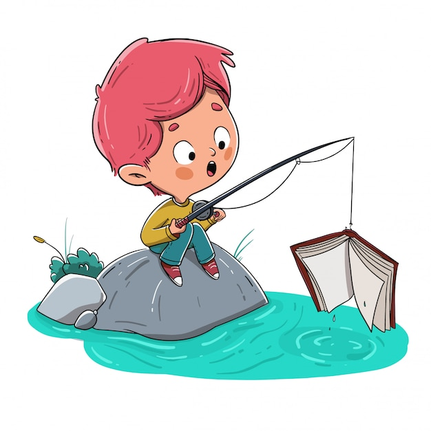 Ragazzo che pesca un libro nel fiume Vettore Premium