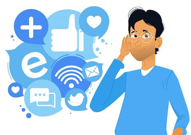 Ragazzo che riceve informazioni dai social media Vettore gratuito